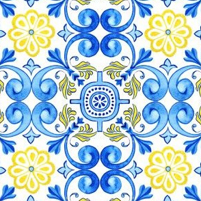 Mediterranean Blue and Yellow Tile