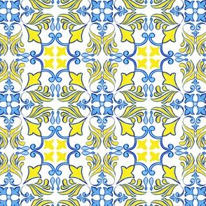 Azulejo Yellow and Blue Flowers