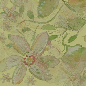 Watercolor Floral Painting - Olive Wash - Fat Quarter Projects