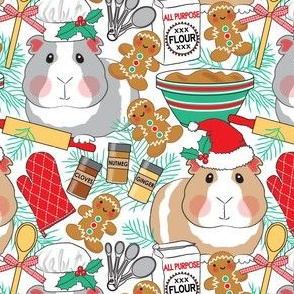 large guinea pigs baking gingerbread men