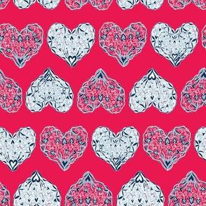 Ornate Hearts - Hot Pink