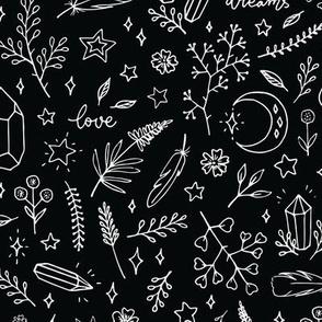 magic doodles on a black background