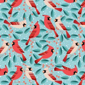 cardinals and mistletoe