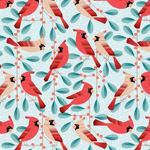 cardinals and mistletoe - light