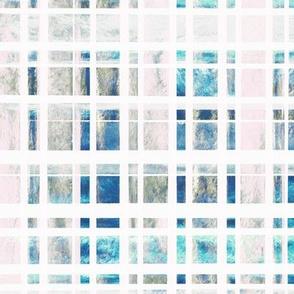 Modern Plaid Watercolor Squares - Blue