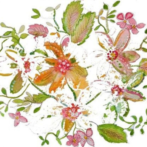 Fresh Floral Watercolor Painting On White