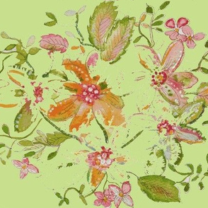 Fresh Floral Watercolor Painting On Soft Green