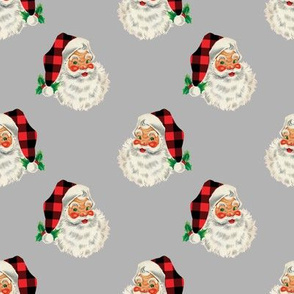 Pale Silver Plaid Santa Vintage Christmas