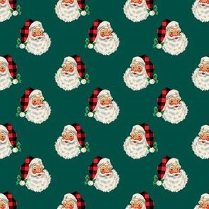 SMALL Green Plaid Santa Vintage Christmas Boy