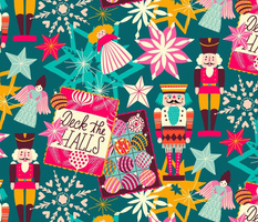 deck the halls // colorful Xmas teal // medium scale