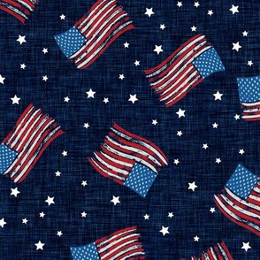 Linen Flags USA United States of America Fourth of July Independence Day