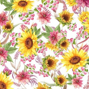 Fall Watercolor Sunflowers Mauve Maroon