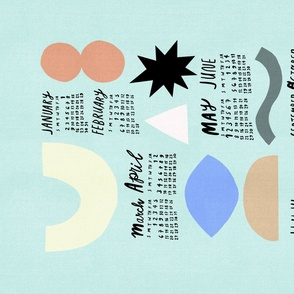 2021 Calendar - Abstract Shapes Pastel Blue