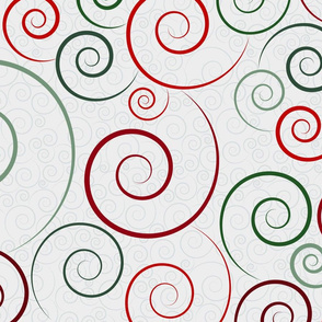 christmas spirals - spiral dance green, red and silver