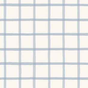 Window Pane Plaid Soft Blue on Cream