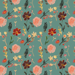 floral fall/ blue green