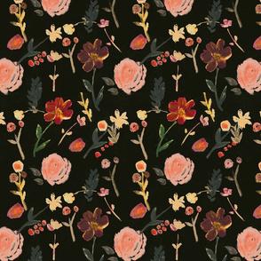 floral fall cranberry/black