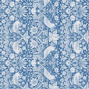 William Morris ~ Strawberry Thief ~ Blue and White ~ Rotated