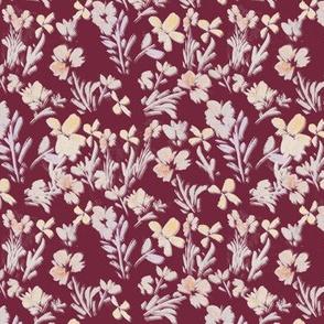watercolor floral/ cranberry