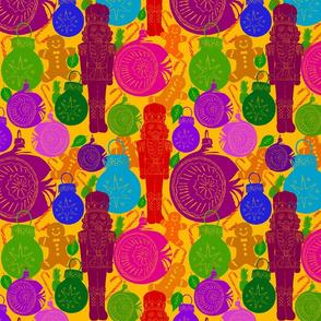 Retro baubles block print