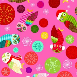Holiday Owls & Snowflakes on Pink