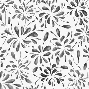 Splash Flowers - Black and White