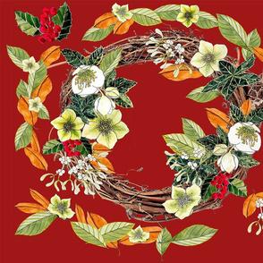 vine wreath and green hellebores dk orange V3