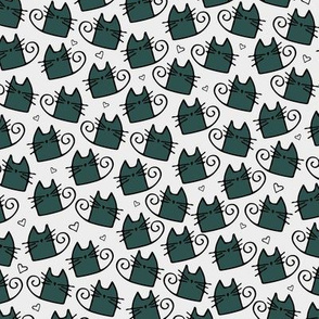 cats - tinkle cat green xmas - hand-drawn cats
