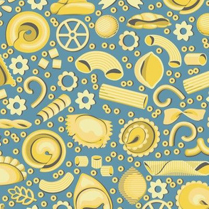 Italian pasta. Forty varieties on a blue-gray background
