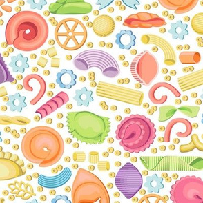 Multicolored Italian pasta. Forty varieties on white background