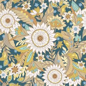 Boho Florals Wild Meadow Vintage Sunflower Teal by Jac Slade