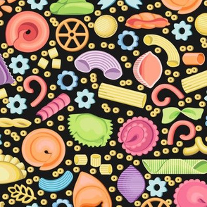 Multicolored Italian pasta. Forty varieties on black background