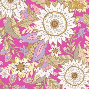 Boho Floral Wild Meadow Vintage Sunflower Fuchsia Pink by Jac Slade