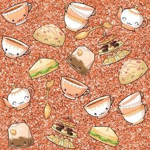 Kawaii Tea Party Orange Glitter