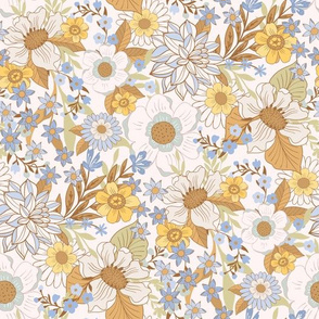 Boho Floral Wild Meadow Flowers Blue by Jac Slade