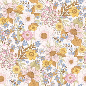 Boho Floral Wild Meadow Flowers by Jac Slade