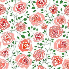 (M) Climbing Rose Garden - Abstract Florals - Medium