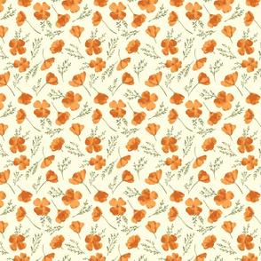Watercolor Golden Poppies (Cream)