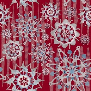 Christmas Glitter-Ice cycles and Snowflakes-Red/Silver