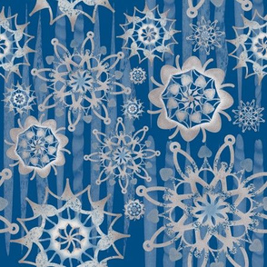 Ice cycles and Snowflakes-Blue/Silver