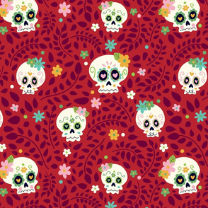 Red Sugar skull Pattern