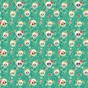 Green sugar skull pattern