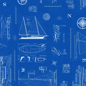 Nautical Sailboats Blueprint - LG