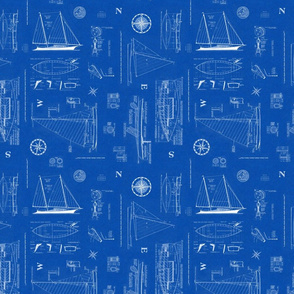 Nautical Sailboats Blueprint - SM