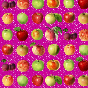 Apples and  dots on magenta ground