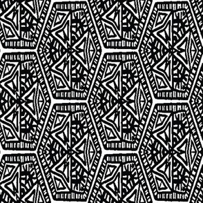 black and white hex abstract geometric by rysunki_malunki