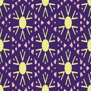 yellow suns ornament on purple by rysunki_malunki