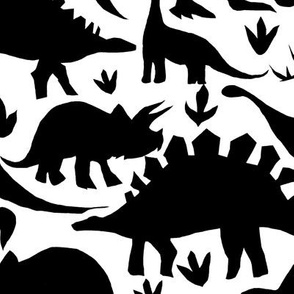 Dinosaurs - black and white - larger scale