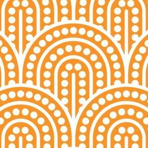 Geometric Pattern: Dotted Arch: White on Orange