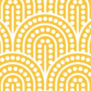 Geometric Pattern: Dotted Arch: White on Yellow